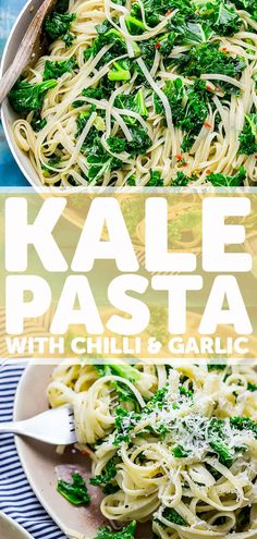 This quick and easy kale pasta with chilli and garlic is a delicious easy dinner recipe. It's great as leftovers so perfect for meal prep too. Kale Recipes, Vegetarian Recipes Easy, Spicy Recipes, Healthy Recipes, Cheese Recipes, Delicious Recipes, Perfect Pasta Recipe, Kale Pasta, Paste Recipe