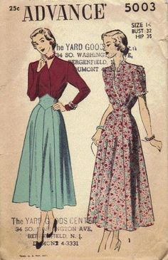 Advance 1940s Sewing Pattern Long Skirt