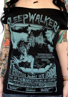 """Women's """"Sleepwalkers"""" Off Shoulder Tee by Serpentine Clothing (Black)…"""