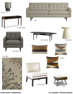 Furnishings concept board for a mid century living room.