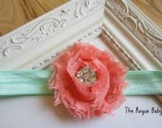Flower Girl headband for a Coral & Mint Green wedding