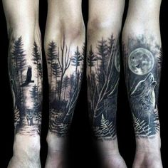 5fa95494c Wolf Howling At The Moon Male Forest Tattoo Sleeve On Forearms: