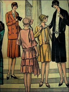 """a vintage french fashion magazine that was in my attic .""""le petit écho de la mode """"published in 1929 Vintage Outfits, Vintage Inspired Dresses, Moda Vintage, Vintage Mode, French Vintage, Vintage Art, Vintage Glam, French Fashion, Vintage Fashion"""