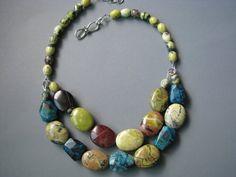 Multi Strand Bead Necklace  Turquoise Chrysocolla by zatanah, $72.00