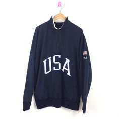 Vintage Polo Ralph Lauren 1 4 Zipper Sweatshirt Usa Polo Sport Pwing Snow  Beach 3d1ae861e5cca