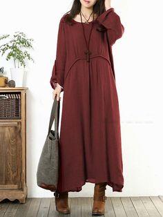 Shop Vintage Dresses - Burgundy A-line Solid Long Sleeve Maxi Dress online. Discover unique designers fashion at JustFashionNow.com.