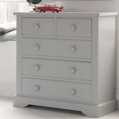 Fargo 3 + 2 Chest of Drawers - Farleigh Grey, Little Folks Furniture Chest Of Drawers Design, Drawer Design, Small Drawers, Childrens Storage Furniture, Wooden Drawers, Kids Storage, White Gloves, Box Frames, Painting On Wood