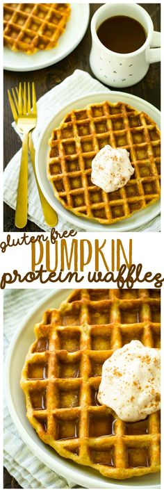 An incredibly easy to make recipe, these Gluten-Free Pumpkin Protein Waffles work as a delicious breakfast, snack, or even cozy dessert! Theyre low calorie and packed with fiber and protein! Protein Snacks, Protein Waffles, High Protein, Gluten Free Breakfasts, Gluten Free Desserts, Healthy Breakfasts, Gluten Free Pumpkin, Pumpkin Recipes, Easy Healthy Breakfast