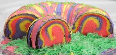 """Rainbow Ring Easter Basket Cake It looks """"Dee-lish"""". I might just attempt for Easter."""