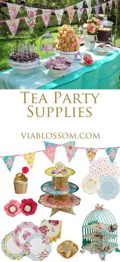Must have Tea Party decorations for baby showers, girl parties and bridal showers. All available at http://blog.viablossom.com/2014/08/08/scrumptious-tea-party/