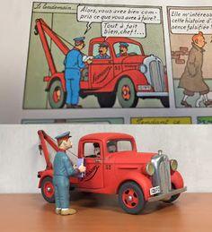 Dessin de Hergé dépanneuse Simoun avec réalisation de la maquette