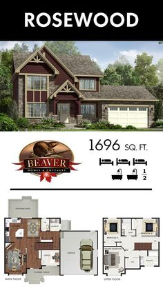 Not only does this Rosewood model have a walk-in closet and an ensuite in the master bedroom, but it also offers tons of room to expand your family! - Home Hardware Stores Limited - Sims House Plans, Dream House Plans, Small House Plans, House Floor Plans, My Dream Home, Building Plans, Building A House, Beaver Homes And Cottages, Plan Chalet