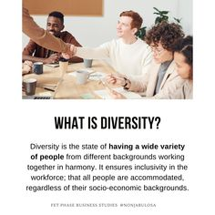 Definition of Diversity  Diversity is the state of having a wide variety of people from different backgrounds working together in harmony. It ensures inclusivity in the workforce; that all people are accommodated, regardless of their socio-economic backgrounds. There are many positive effects that diversity has on the business, its employees and other stakeholders. No one should be discriminated against ·Grade 12 Business Studies with Nonjabulo Tshabalala, South African Business Studies… What Is Diversity, Business Definition, Exam Papers, Business Studies, Information Graphics, Human Rights, Definitions, Workplace, Backgrounds