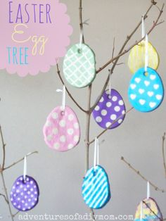 Adventures of a DIY Mom - Salt Dough Easter Egg Tree made using painted salt dough Easter eggs and a branch from the back yard. Easter Crafts For Adults, Easter Crafts For Kids, Kids Diy, Easter Gift Bags, Easter Tree Decorations, Egg Tree, Diy Ostern, Easter Activities, Salt Dough
