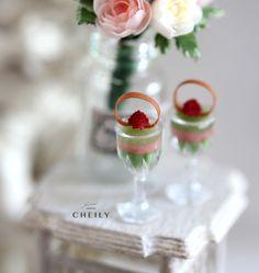Dollhouse miniature desserts- Green tea raspberry mousse by CheilysMiniature on Etsy