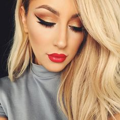 With a new season comes new trends, and we are in love with the beauty trends that Autumn/Winter has to offer. From gorgeous gold eye makeup to bea. Gorgeous Makeup, Pretty Makeup, Love Makeup, Gorgeous Hair, Beauty Makeup, Makeup Looks, Hair Makeup, Hair Beauty, Stunning Eyes