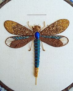 Odonata (n.) an order of insects containing dragonflies and damselflies characterised by long slender bodies, large compound eyes and two… Gold Embroidery, Embroidery Jewelry, Embroidery Stitches, Embroidery Patterns, Foto T Shirt, Creative Embroidery, Gold Work, Needlework, Peacock Butterfly