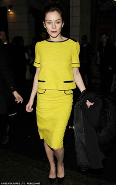 Anna Friel wore an Audrey Hepburn's classic style in a canary yellow pencil skirt with a matching top.