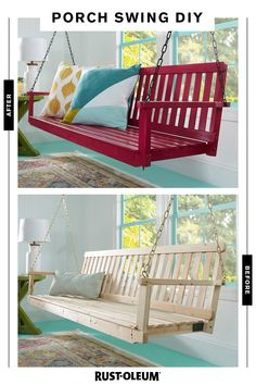 Get into the swing of summer with a porch swing and some Rust-Oleum spray paint. Diy Wood Projects, Home Projects, Home Decor Bedroom, Diy Home Decor, Outdoor Futon, Do It Yourself Baby, Wood Swing, Diy Porch, Porch Swing
