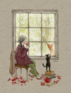 girl & her cat illustration Art And Illustration, Illustration Mignonne, Illustrations, Art Fantaisiste, Art Mignon, Whimsical Art, Cat Art, Oeuvre D'art, Cute Drawings