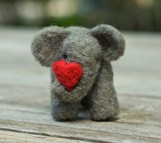 Needle Felted Elephant with Heart. By ScratchCraft.