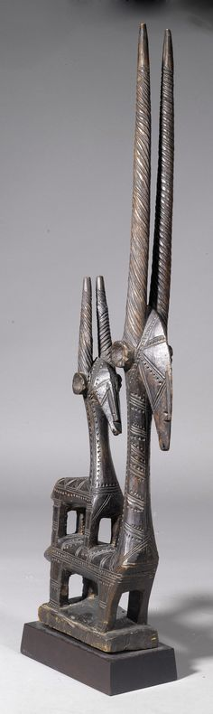 "Africa | Antelope dance crest ""tjiwara"" from the Bamana people of Mali 