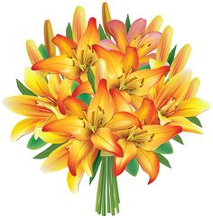Yellow Lilies Flowers Bouquet PNG Clipart Image