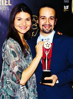 Phillipa Soo and Lin-Manuel Miranda received Lortel Awards for Outstanding Lead Actress and Actor in a Musical for their work in Hamilton
