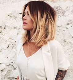 Short dark red to blonde ombre bob hairstyle.
