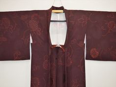 Lovely Woven and Dyed Arabesque (Karakusa) Chrysanthemums in Rich Red-Brown Silk Haori Kimono Jacket Vintage Japanese by DianesGemsAndFibers on Etsy