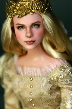 """Welcome To Hollywood Dolls:  OOAK Elle Fanning repaint doll as Disney's """"Aurora"""" Maleficent Motion Picture"""