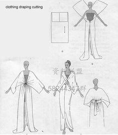Very simple patterns Diy Clothing, Sewing Clothes, Fashion Sewing, Diy Fashion, Origami Fashion, Fashion Details, Dress Sewing Patterns, Clothing Patterns, Vintage Patterns