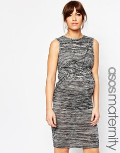 Image 1 ofASOS Maternity Midi Dress With Drape Front in Space Dye