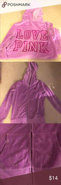 PINK full zip up Awesome neon purple color. EUC-only minor defect is some pulling on front pocket, barely noticeable when worn. Great for any season! Super soft! PINK Victoria's Secret Tops Sweatshirts & Hoodies