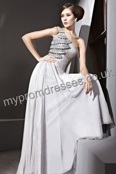 Floor Length One-shoulder Gray Chiffon A-line Evening Dress  http://www.mypromdresses.co.uk