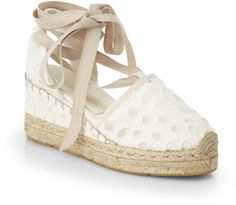 2b5e395b8e23 Uma Eyelet Espadrille Wedge Sandals - Lyst Ralph Lauren Collection