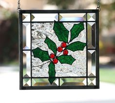 WINTER+HOLLY++Clear+Stained+Glass+Window+Panel+by+gallerydelsol,+$78.00