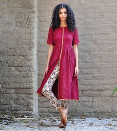 Plum jacket and block printed pants by KharaKapas on Etsy