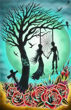Love til Death by Tyler Bredeweg Lowbrow Tattoo Canvas Art Print
