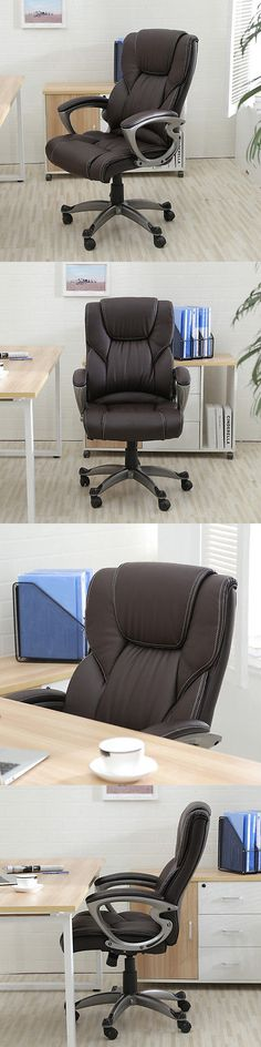Office Furniture: Brown Pu Leather High Back Office Chair Executive Task Ergonomic Computer Desk -> BUY IT NOW ONLY: $88.99 on eBay!