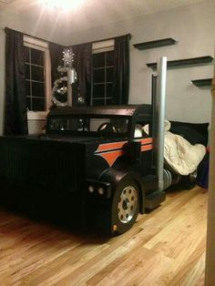 Pin On Boys Rooms. Shared Kids Rooms: Making A Multiple Bed Layout Work . Tiny Box Room Made Into Cool Pre Teen Boys Bedroom Kids . Home Design Ideas Kids Truck Bed, Kid Beds, Bunk Beds, Kids Bedroom, Bedroom Decor, Bedroom Ideas, Truck Bedroom, Tractor Bedroom, Cool Beds For Kids
