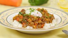 JAPANESE-STYLE DRY CURRY  豆入りドライカレー (Ground Beef, Soy Beans, kidney beans, Carrot , bell pepper, Curry Sauce Mix, Parsley)