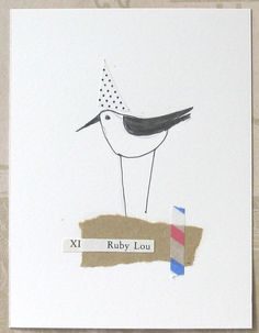 Collage on paper A Bird Named Ruby Lou by ColetteCopeland on Etsy