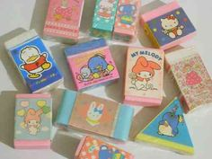sanrio erasers- I worked right next to the Hello Kitty store in Downey in the My Childhood Memories, Sweet Memories, 90s Childhood, Hunter Guide, Eraser Collection, Retro, Cute Stationery, Stationary, 80s Kids