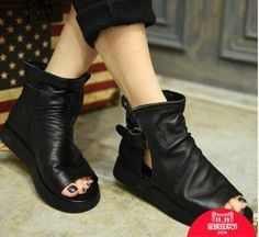 (86.00$)  Buy here  - Autumn Black Artmu Women Genuine Leather Boots,High Quality Flats Female Comfortable Open Toe Shoes,Buckle Fashion Women Shoes