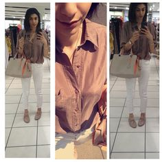Nudes! || brown shirt. Vintage | white relaxed ripped skinny jeans. Next | Nude patent brogues. New Look | nude and orange bag. Calvin Klein | gold orb necklace. Vivienne Westwood ||#lookbook #lotd #ootd #summeroutfit #comfyoutfit #bloggerlook #bloggerstyle