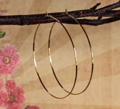 Delicate Flat Front Large Hammered Gold Hoop by BlueWaveJewelry, $36.00
