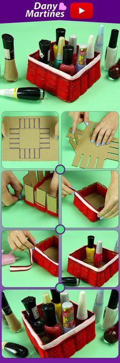 Faça você mesmo porta treco com papelão e linha, porta esmaltes, diy , do it yourself