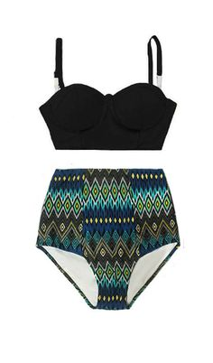 a36fd69f8f Navy Blue Underwire Midkini Top and Tribute Aztec Highwaisted High Waisted  Waist Swimsuit Bikini set Bathing suit Swim dress wear S M L XL by  venderstore on ...