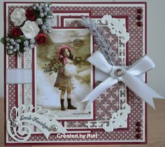 Riet's Blog: Goede feestdagen Christmas Mini Albums, Christmas Frames, Christmas Cards To Make, Vintage Christmas Cards, Vintage Cards, Scrapbooking, Scrapbook Cards, Shabby Chic Xmas Cards, Xmas Theme